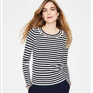 Boden striped ruffle neck and sleeve sweater